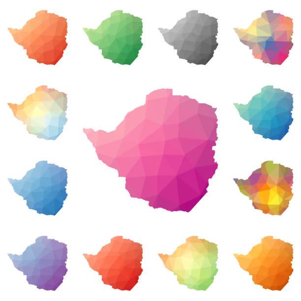 simbabwe geometrische polygonale, mosaik-stil-karten-sammlung. - salisbury stock-grafiken, -clipart, -cartoons und -symbole