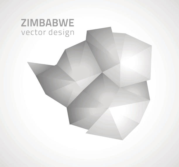 simbabwe-grau und silber polygonalen vektor karte - salisbury stock-grafiken, -clipart, -cartoons und -symbole