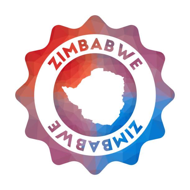 simbabwe low-poly-logo. - salisbury stock-grafiken, -clipart, -cartoons und -symbole