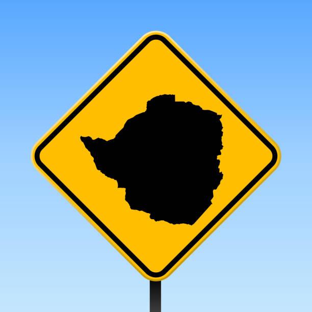 simbabwe karte auf straßenschild. - salisbury stock-grafiken, -clipart, -cartoons und -symbole