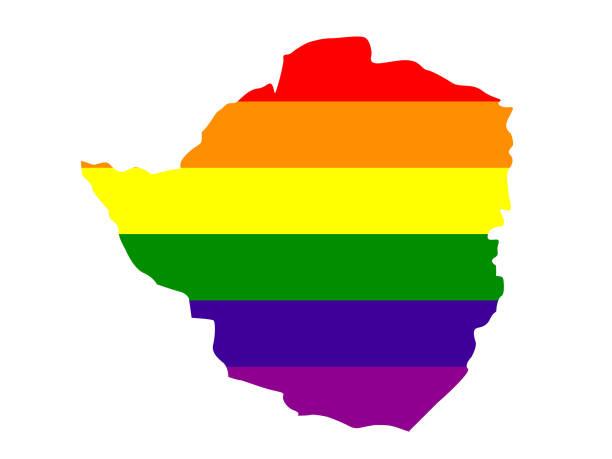 simbabwe-karte mit lgbt-flagge - salisbury stock-grafiken, -clipart, -cartoons und -symbole