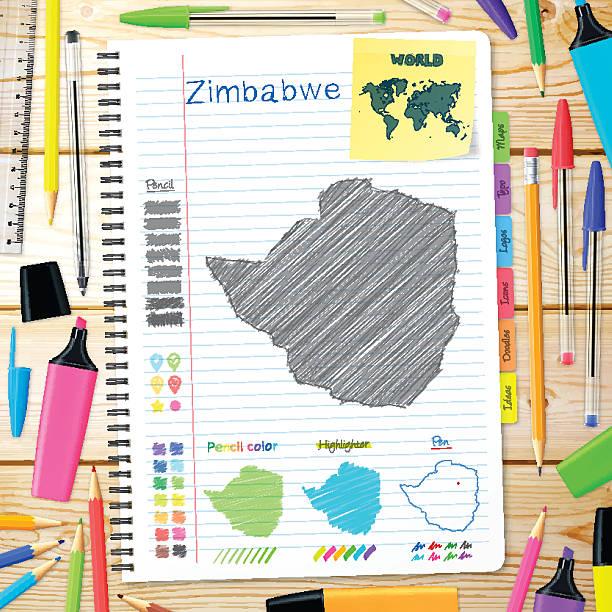 simbabwe karten handgezeichnet auf notebook. hölzerner hintergrund - salisbury stock-grafiken, -clipart, -cartoons und -symbole