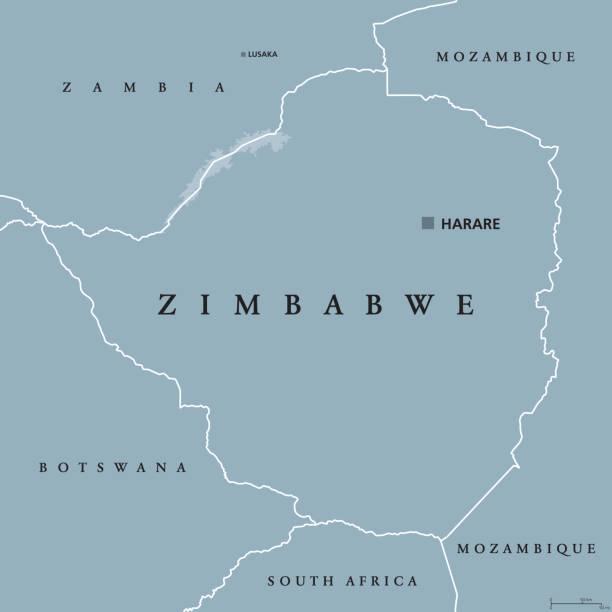 politische landkarte simbabwe - salisbury stock-grafiken, -clipart, -cartoons und -symbole
