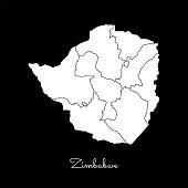 Zimbabwe region map: white outline on black background.
