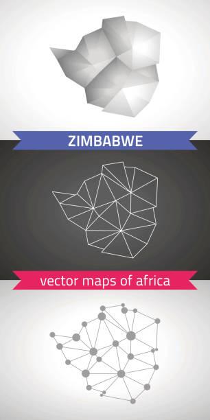 simbabwe-reihe von grau und silber mosaik polygonale 3d-karten. grafischen dreieck geometrie umriss schatten perspektive vektorkarten - salisbury stock-grafiken, -clipart, -cartoons und -symbole
