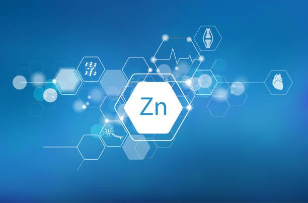 stockillustraties, clipart, cartoons en iconen met zink. wetenschappelijk medisch onderzoek - spoorelement