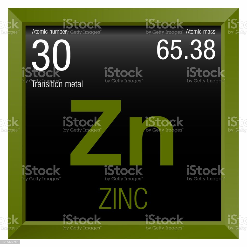 Zinc Symbol Element Number 30 Of The Periodic Table Of The Elements