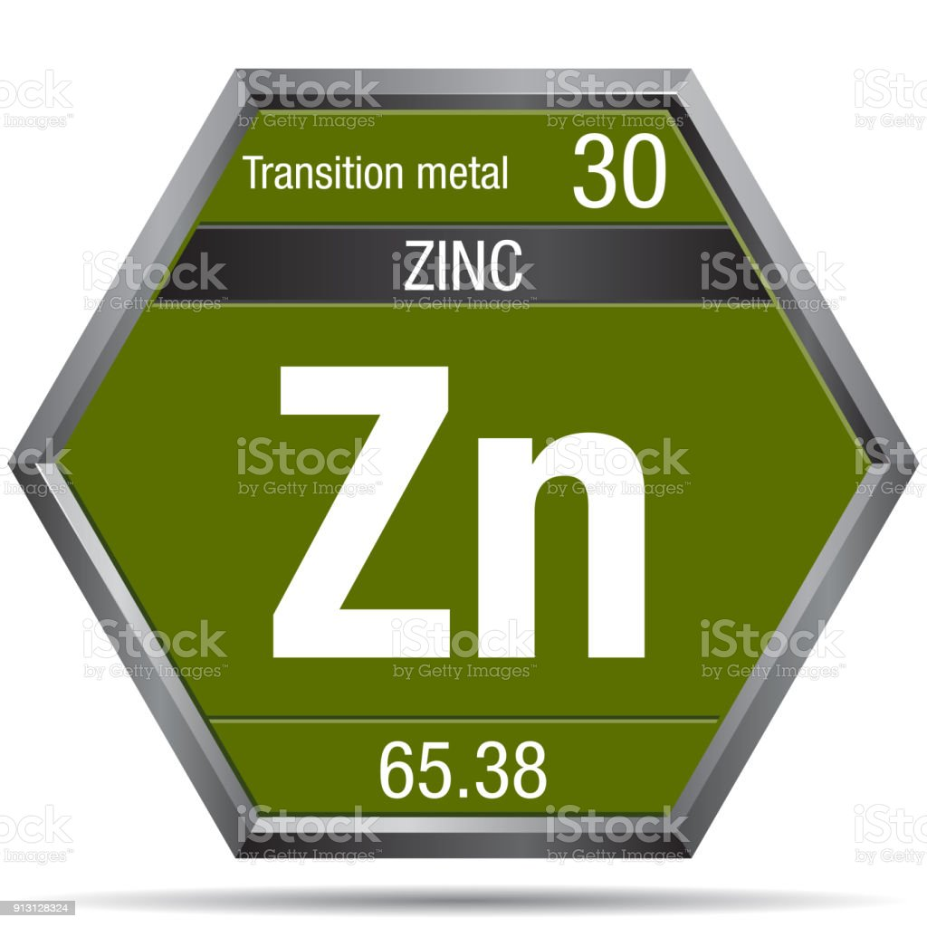 Zinc Symbol In The Form Of A Hexagon With A Metallic Frame Element