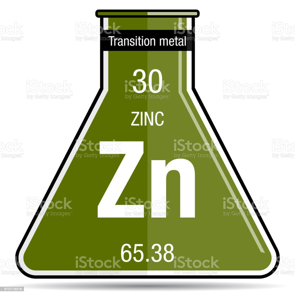 Zinc Symbol On Chemical Flask Element Number 30 Of The Periodic