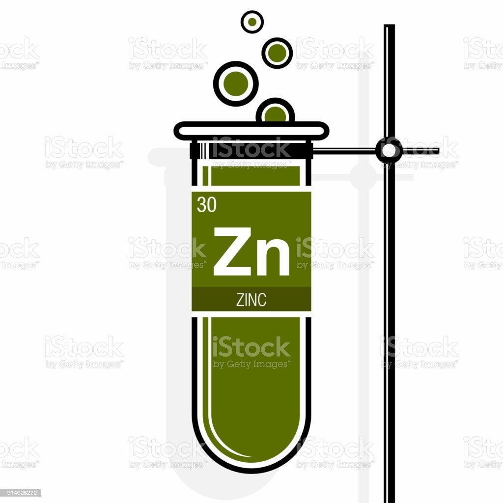 Smbolo del cinc de etiqueta en un tubo de ensayo verde con smbolo del cinc de etiqueta en un tubo de ensayo verde con soporte elemento nmero urtaz Images