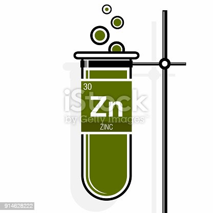 Zinc Symbol On Label In A Green Test Tube With Holder Element Number