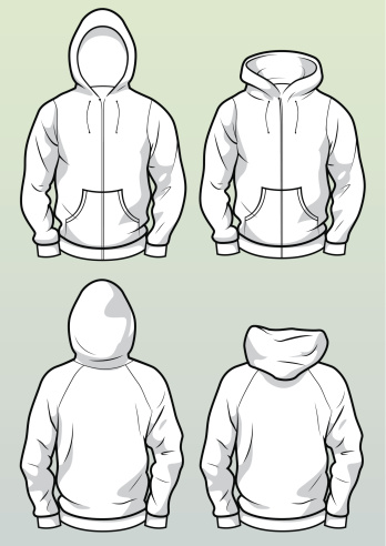 Zip hoodies front and back