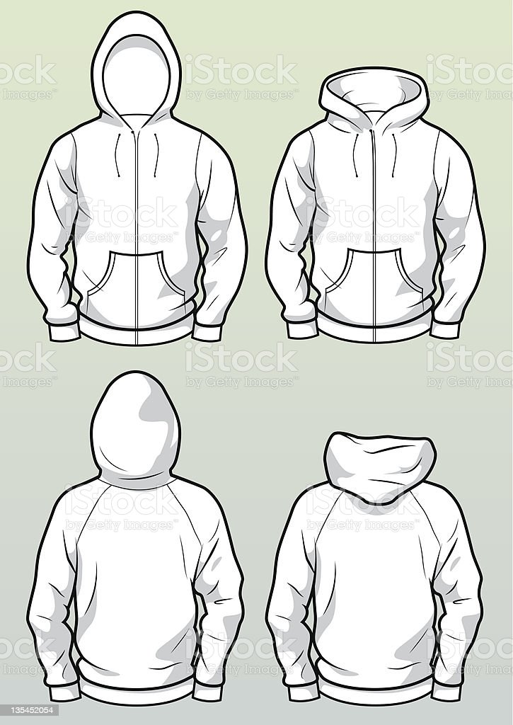 Zip hoodies front and back vector art illustration