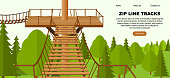 Zip Line activity web banner concept, vector illustration. Flat trees, forest, wooden playground background. Ziplining activity for the family in summer time.