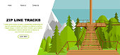 Zip Line aerial runway web banner concept, vector illustration. Flat trees, forest landscape, wooden playground and mountains landscape. Ziplining activity for the family in summer time.