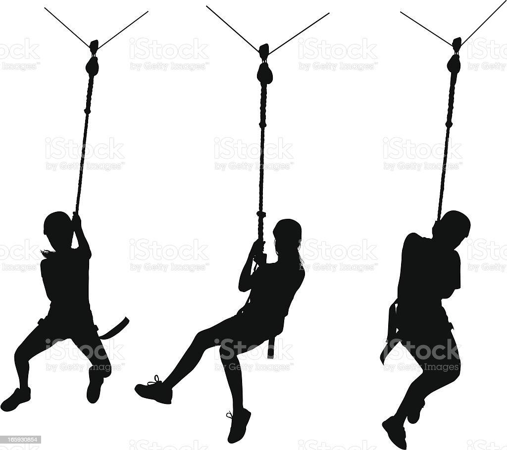 Zip Line vector art illustration
