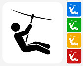 Zip Lining Icon Flat Graphic Design