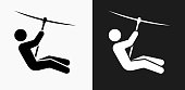 Zip Lining Icon on Black and White Vector Backgrounds