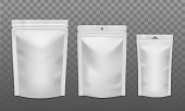 istock Zip package. Blank foil bags of different size, plastic sachet pouch for coffee, candy or nuts. Packaging for advertising vector mockups 1224988414