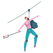 Ziplining outdoor sports illustration. Vector cartoon flat character of woman descending on a rope isolated on a white background.