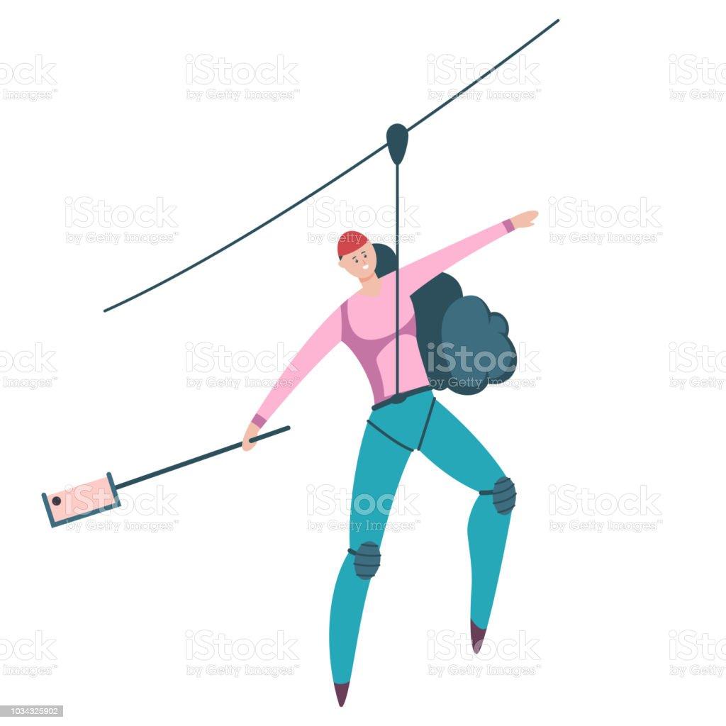 Ilustración de deportes al aire libre Canopy. Personaje plano de dibujos animados vector de mujer descender en una cuerda aislada sobre fondo blanco. - ilustración de arte vectorial