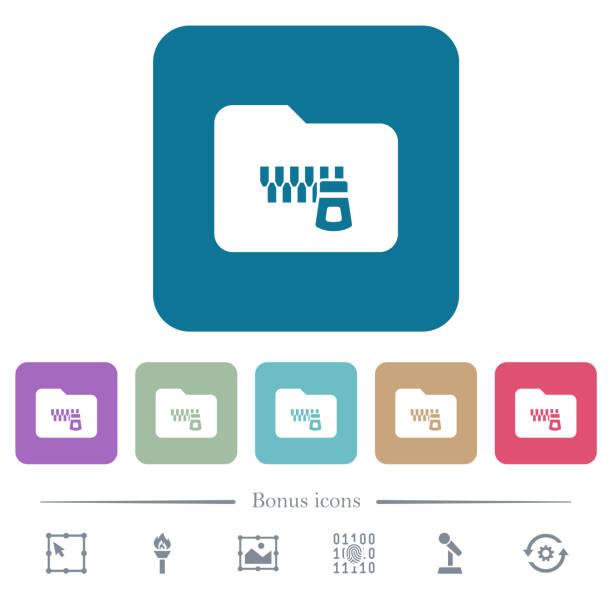 Zippte Ordner flache Icons auf farblich abgerundeten quadratischen Hintergründen – Vektorgrafik