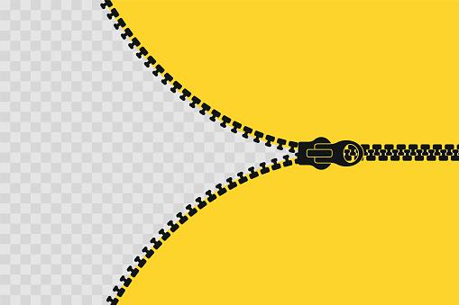 Zipper banner template. Open zipper. Empty poster for your design. Vector illustration.