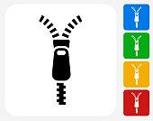 Zipper Icon Flat Graphic Design