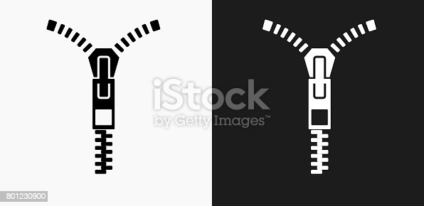 istock Zipper Icon on Black and White Vector Backgrounds 801230900