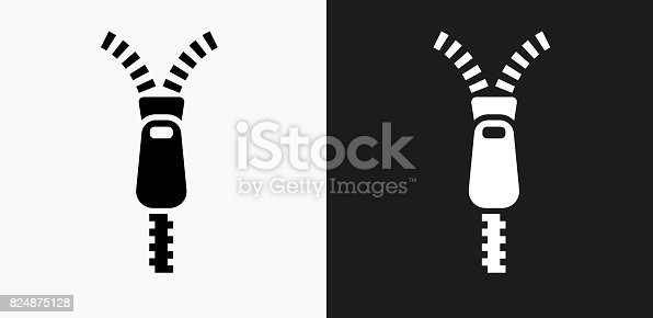 istock Zipper Icon on Black and White Vector Backgrounds 824875128