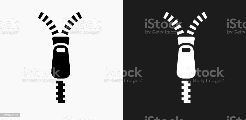 Zipper Icon on Black and White Vector Backgrounds vector art illustration