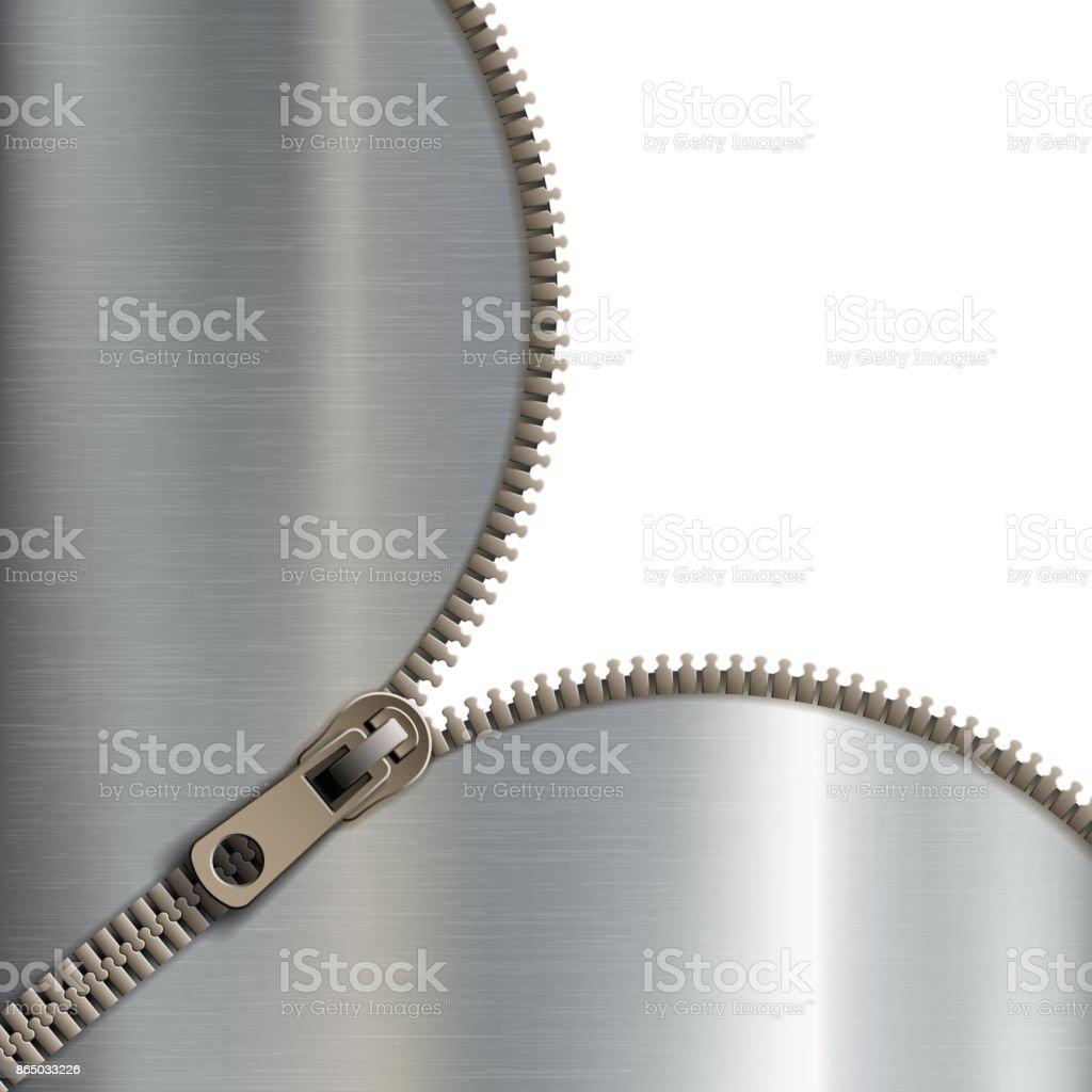 zipper on a metal background vector art illustration