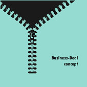 Zipper symbol and handshake businessman agreement on background.Shaking hands,successful transaction.Partnership,business deal and agreement concept.