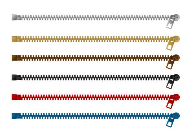 Zipper (fastener) vector illustration set (color variations /  horizontal ) vector art illustration
