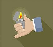 Zippo lighter and hand