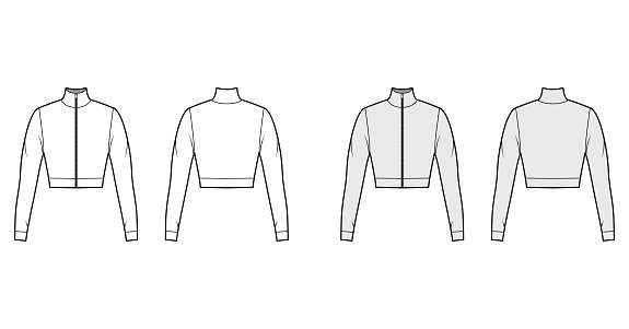 Zip-up cropped turtleneck jersey sweater technical fashion illustration with long sleeves, close-fitting shape. Flat