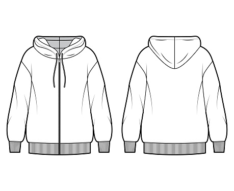 Zip-up oversized cotton-fleece hoodie technical fashion illustration with relaxed fit, long sleeves. Flat outwear jumper