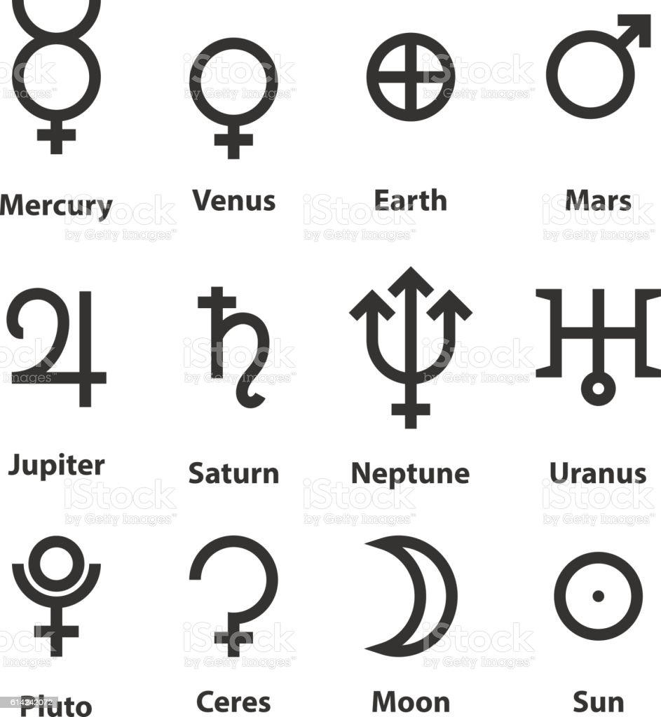 Zodiac And Astrology Symbols Of The Planets Stock Vector Art More