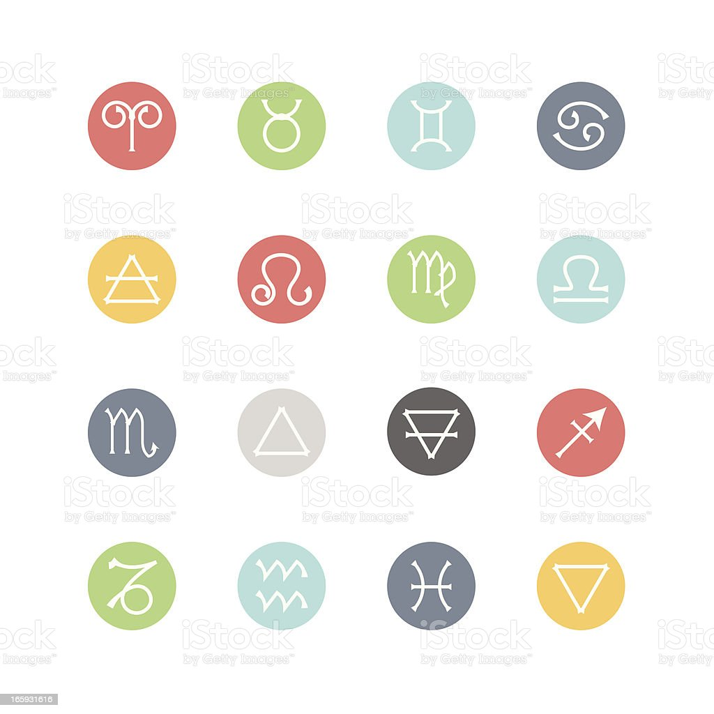 Zodiac and Four Elements Icons  : Minimal Style vector art illustration