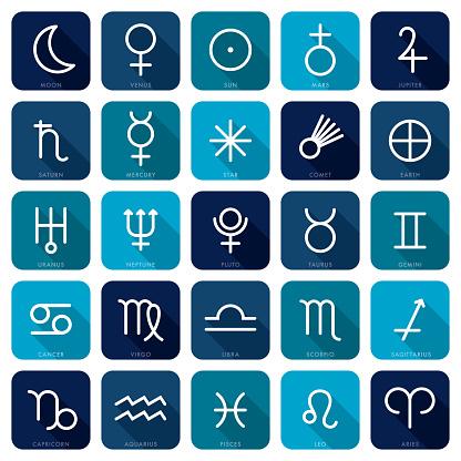 Zodiac and Planetary Symbols Icon Set