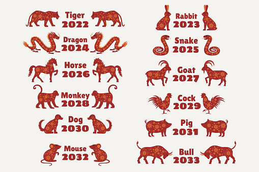 12 zodiac animals for Chinese New Year. Chinese calendar animals with years. Mouse, bull, tiger, rabbit, dragon, snake, horse, goat, monkey, chicken, dog, pig. Vector illustrations.