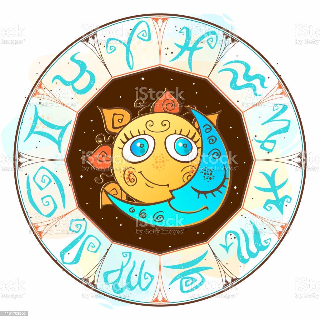 Zodiac. Astrological symbol. Horoscope. The sun and the moon....
