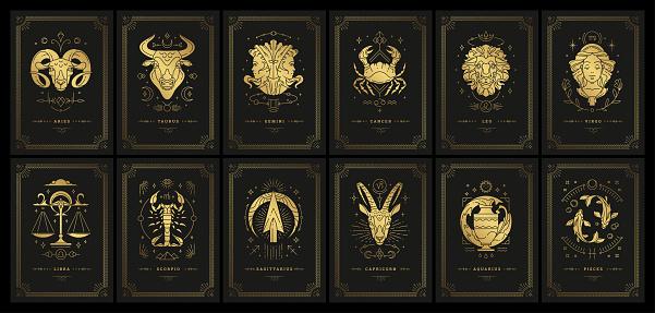 Zodiac astrology horoscope cards linocut silhouettes design vector illustrations set