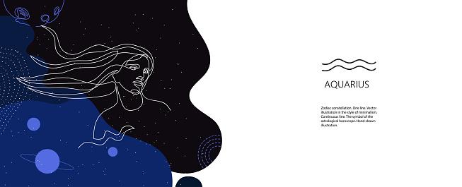 Zodiac background. Aquarius constellation. The element of air. Horizontal banner.
