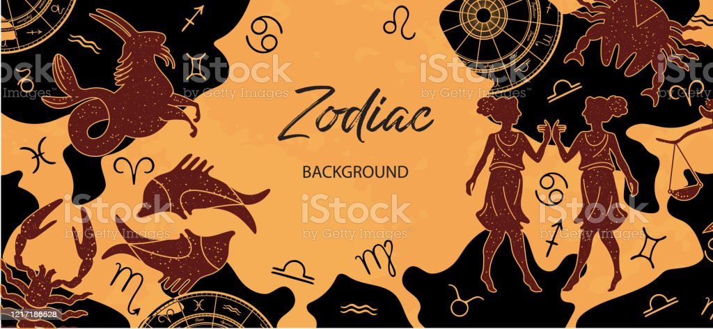Zodiac Background Astrological Horoscope Horizontal Banner With The Zodiac Signs Stock Illustration Download Image Now Istock