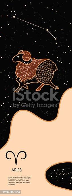 istock Zodiac background. Constellation Aries. Antique style. Vertical banner. 1297387874