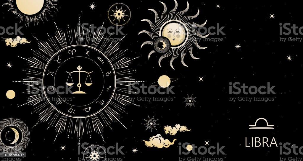 Zodiac Background Libra Zodiac Sign Horizontal Banner Stock Illustration Download Image Now Istock