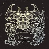 Zodiac Cancer. Linear drawing itolated on night sky background