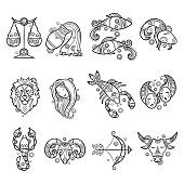 Zodiac characters. Astrology horoscope signs tattoos lion aries fish cancer vector graphics. Illustration sagittarius and aries, taurus and lion, aquarius and cancer