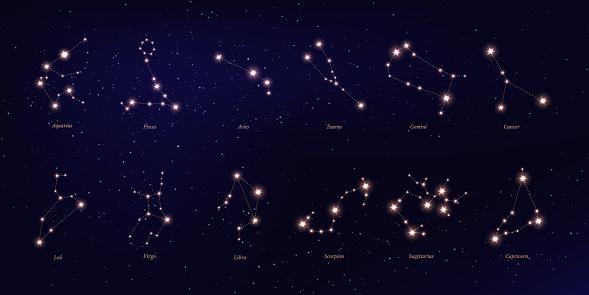 Zodiac constellation vector illustrations set